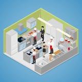 Restaurantkücheninnenraum Chef Cooking Food Isometrische flache Illustration 3d vektor abbildung