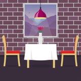 Restaurantlijst met twee stoelen en vaas met bloemen Lijst in comfortabel restaurant, een hangende lamp boven het CS en royalty-vrije illustratie