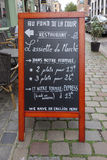 Restaurantmenu in Lille Stock Fotografie
