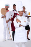 Restaurantpersoneel stock afbeeldingen