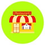 Restaurantpictogram in in vlakke die stijl op grijze achtergrond wordt geïsoleerd De bouw van symbool voor uw ontwerp, embleem, U Stock Fotografie
