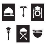 Restaurantpictogrammen, zwart-wit embleem Royalty-vrije Stock Foto's