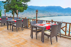 The restaurants of Alanya resort. Alanya resort boasts wide range of tourist attractions, also here are a lot of perfect restaurants, cozy cafes and bars, many Stock Photo