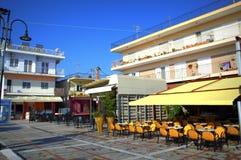 Restaurants in Asprovalta, Griechenland Stockbild
