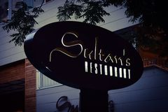 Restaurants of the Baku city, Sultans restaurant In twilight Royalty Free Stock Photos