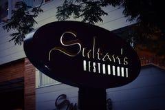 Restaurants of the Baku city, Sultans restaurant In twilight Royalty Free Stock Photos