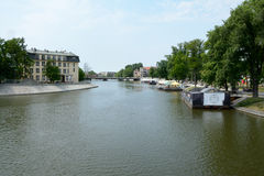 Restaurants on barges on Odra river canal in Wroclaw, Poland. Stock Photos