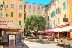 Restaurants and bars in Menton, France. Royalty Free Stock Photography
