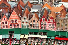 Restaurants in Brugge. View on restaurants in Brugge from height Royalty Free Stock Images