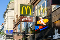 Restaurants And Cafe Famous Brands Advertising On Mariahilferstrasse Street Stock Photos