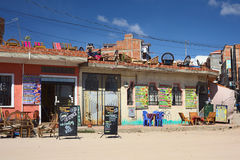 Restaurants in Copacabana, Bolivië Stock Foto's