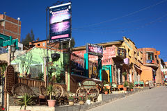 Restaurants dans Copacabana, Bolivie Photo libre de droits