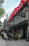 Restaurants in de stad van Quebec Stock Foto's
