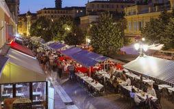 Restaurants in der alten Stadt, Nizza Lizenzfreie Stockfotografie