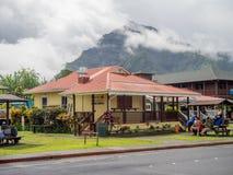 Restaurants en een het winkelen gebied in Hanalei Royalty-vrije Stock Afbeeldingen