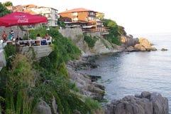 Restaurants extérieurs de vue de mer Image libre de droits