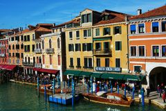 Restaurants on Grand Canal, Venice, Italy, Europe stock image