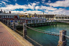 Restaurants at the harbor in downtown Bar Harbor, Maine. Stock Photos
