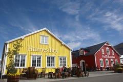 Restaurants in the harbor. Iceland. Siglufjordur. Stock Image