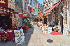 Restaurants in historical centre of Brussels stock photography