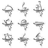 Restaurants icon set. Set of nine restaurants icons with tray in hand Royalty Free Stock Photos