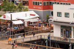 Restaurants langs Dok in Juneau royalty-vrije stock foto
