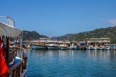 Restaurants line the docks Royalty Free Stock Image