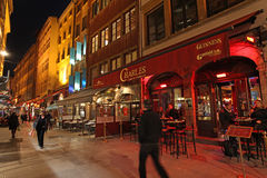 Restaurants in Lyon by night, France Stock Photography