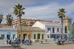 Restaurants on Malvarossa Beach. Valencia. Spain Stock Photography