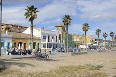 Restaurants on Malvarossa Beach. Valencia. Spain Royalty Free Stock Image