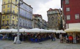 The restaurants of the Oporto Ribeira Stock Photography