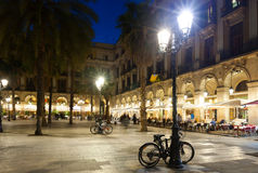 Restaurants at Placa Reial in winter night. Barcelona Stock Image