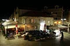 Restaurants in Primosten by night Royalty Free Stock Photography