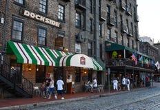 Restaurants on River Street in Savannah, GA. stock image