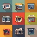 Restaurants and shops facade, storefront detailed flat. Design Royalty Free Stock Photo