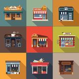 Restaurants and shops facade, storefront detailed flat. Design Stock Images