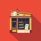 Restaurants and shops facade, storefront vector. Detailed flat design Stock Image