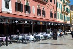 Restaurants in the square brà Stock Image