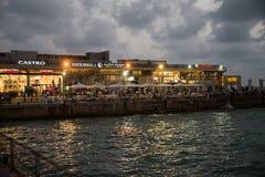 Restaurants and stores line the Inner Harbor, Tel Aviv stock images