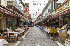 Restaurants on a street in Istanbul Stock Photos