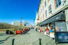 Restaurants at a street in Reykjavik Royalty Free Stock Photography