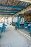 Matala street. Restaurants and taverns in Matala village , Crete , Greece , Europe . Interior of the tavern Royalty Free Stock Photo