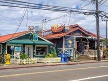 Restaurants und ein Einkaufsviertel in Hanalei Stockbild