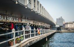 Restaurants under Galata bridge in Istanbul, Turkey Royalty Free Stock Photos