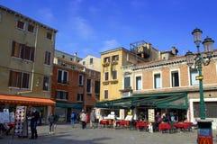 Restaurants on Venice square Royalty Free Stock Photos