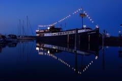 Restaurantschip F P von Knorring in de Mariehamn-haven stock foto