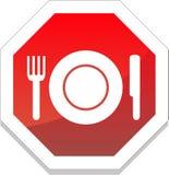 Restaurantsymbol mit Platte, Gabel, Messer Stockfotografie