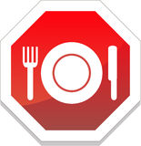 Restaurantsymbool met plaat, vork, mes Stock Fotografie