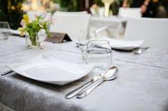 Restauranttabellendetail Stockfoto