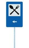 RestaurantVerkehrsschild auf Beitragspfosten, Verkehr Signage, Blau lokalisierter Abendessenbarverpflegungsgabel-Löffel Signage,  Lizenzfreies Stockfoto